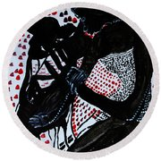 Round Beach Towel featuring the painting Dinka Bride by Gloria Ssali