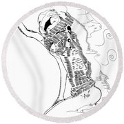 Round Beach Towel featuring the drawing Dinka Dance - South Sudan by Gloria Ssali