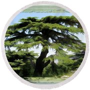 Do-00512 Cedar Forest Round Beach Towel