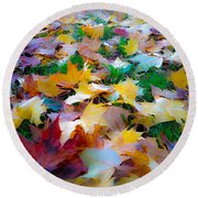 Round Beach Towel featuring the photograph Fall Leaves by Steve McKinzie