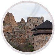 Round Beach Towel featuring the photograph Filakovo Hrad - Castle by Les Palenik