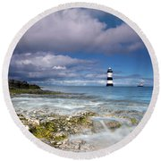 Fishing By The Lighthouse Round Beach Towel by Beverly Cash