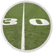 Round Beach Towel featuring the photograph Football Field Thirty by Henrik Lehnerer