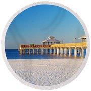 Fort Myers Beach Pier Round Beach Towel