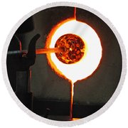 Glass Blowing V Round Beach Towel