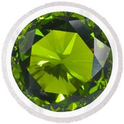 Round Beach Towel featuring the jewelry Green Gem Isolated by Atiketta Sangasaeng