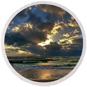 Heavenly Rays Round Beach Towel by Nick  Shirghio