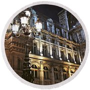 Hotel De Ville In Paris Round Beach Towel