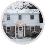 House In Winter Part Of An Infrared Round Beach Towel