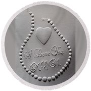 Round Beach Towel featuring the relief I Love You Mom by Suhas Tavkar