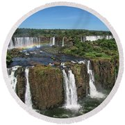 Iguazu Falls Round Beach Towel by David Gleeson