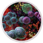 Immune Response Antibody 4 Round Beach Towel by Russell Kightley