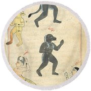 Islamic Demons, 17th Century Round Beach Towel