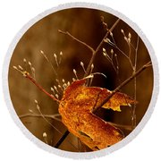 Lonely Leaf Round Beach Towel