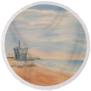 Morning By The Beach Round Beach Towel