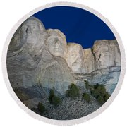 Mount Rushmore Nightfall Round Beach Towel by Steve Gadomski