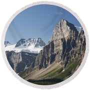 Mountain Peaks With Cliff Face And Blue Round Beach Towel