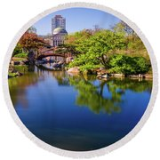 Osaka Japanese Garden Round Beach Towel by Jonah  Anderson