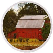 Round Beach Towel featuring the photograph Ozark Red Barn by Lydia Holly
