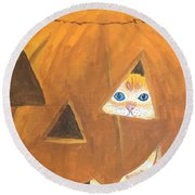 Round Beach Towel featuring the painting Peekaboo by Norm Starks