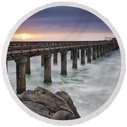 Pier At Sunset Round Beach Towel by Fran Gallogly