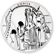Round Beach Towel featuring the drawing Presentation Of Jesus In The Temple by Gloria Ssali