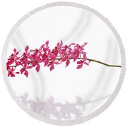 Round Beach Towel featuring the photograph Red Orchid by Atiketta Sangasaeng