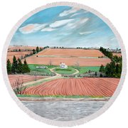 Red Soil On Prince Edward Island Round Beach Towel