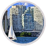 Sailing In Toronto Harbor Round Beach Towel