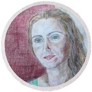 Round Beach Towel featuring the drawing Self Portrait by Anna Ruzsan