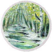 Round Beach Towel featuring the painting Spring by Shana Rowe Jackson