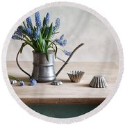 Still Life With Grape Hyacinths Round Beach Towel
