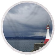 Round Beach Towel featuring the photograph Stormwatch by Marilyn Wilson