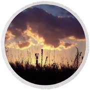 Round Beach Towel featuring the photograph Summer Sunset by Lauren Radke