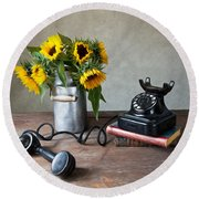 Sunflowers And Phone Round Beach Towel