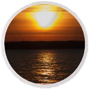 Round Beach Towel featuring the photograph Sunrise On Seneca Lake by William Norton