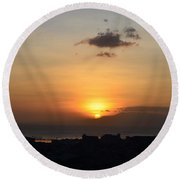 Sunset Upon The Ocean  Round Beach Towel