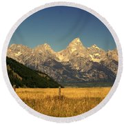 Round Beach Towel featuring the photograph Tetons 3 by Marty Koch