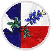 Round Beach Towel featuring the drawing Texas Bluebonnet by Vonda Lawson-Rosa