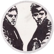 Round Beach Towel featuring the drawing The Boondock Saints by Jeremiah Colley
