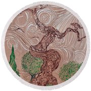 The Earthen Tree Round Beach Towel