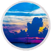 The Purple Sunset Round Beach Towel