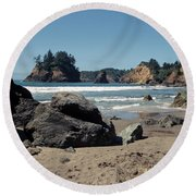 Round Beach Towel featuring the photograph Trinidad Beach by Sharon Elliott