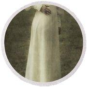 Victorian Lady Round Beach Towel