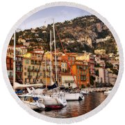 Round Beach Towel featuring the photograph Villefranche-sur-mer  by Steven Sparks