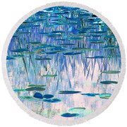 Water Lilies Round Beach Towel by Chris Anderson