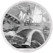 Whaling, 1833 Round Beach Towel