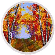 White Birch Tree Abstract Painting In Autumn Round Beach Towel by Keith Webber Jr