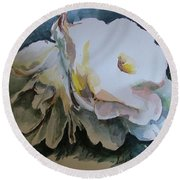 White Flowers Round Beach Towel by Rita Fetisov