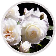 Round Beach Towel featuring the photograph White Roses by Donna Walsh